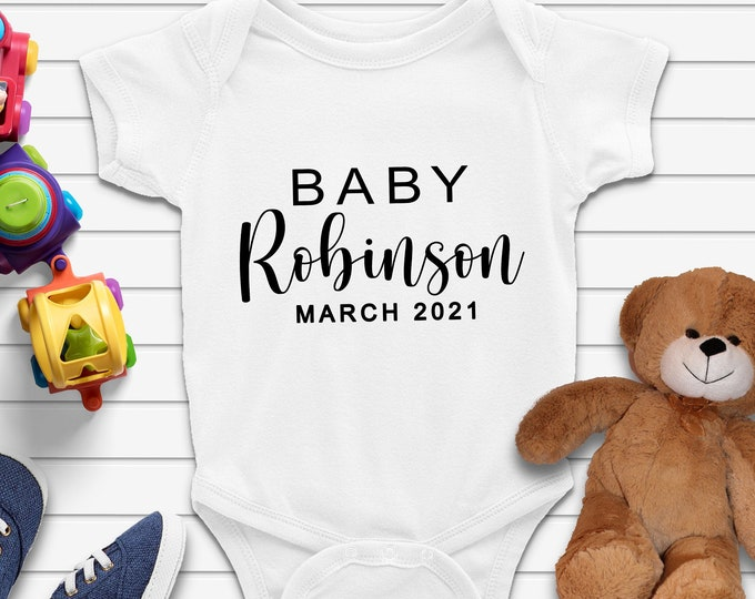 Personalized Custom Baby Onesie, Baby Announcement Onesie, Unisex Baby Bodysuit, Baby Shower Gift, Baby Coming Soon, Newborn Clothes