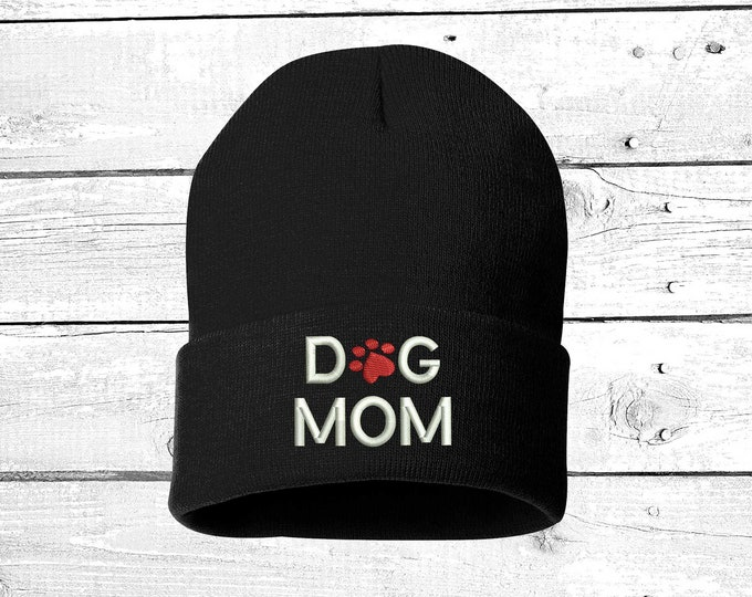 DOG MOM Embroidered Beanie Cuffed Cap,  For Pet Lovers  Slouched Beanie, Messy Hair Beanies Black Cuffed Beanie Gifts for Pet Lovers