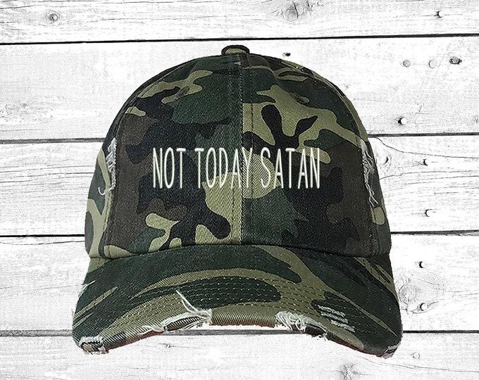 NOT TODAY SATAN   Temptation Hat   Funny Religion   Tumblr Hat   Satan   Distressed Hat    Satanic   Demons   Not Today Satan Hat   Dad Caps