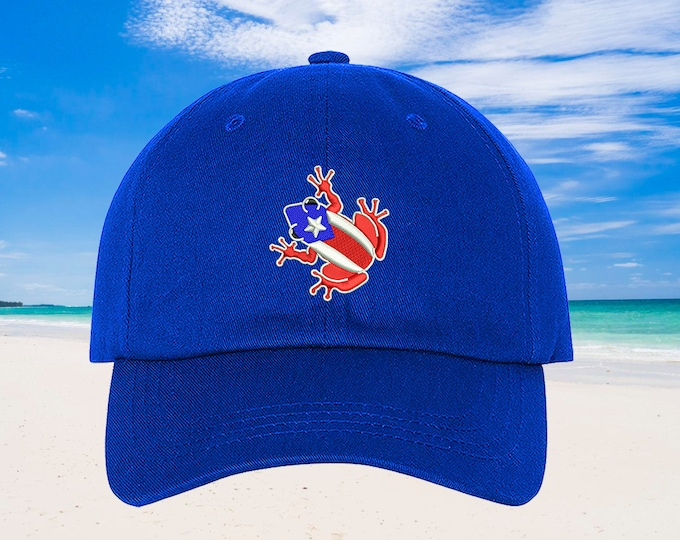Coqui Dad Hat, Puerto Rico Baseball Hat Puertorican Festival Hats, Low Profile Embroidered Baseball Cap, Puerto Rico Dad Hats, Boricua Hats
