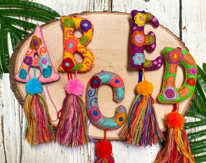 Embroidered Letter Tassel, Letter Tassel Keychain, Letter Bag Charm, Handmade Tassel Keychain, Letter Purse Tassel, Alphabet Keychain