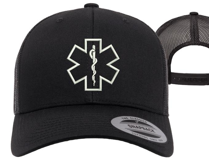 Paramedic Trucker Hats, Emt Baseball Caps, EMS Trucker Hats for Medic, Gifts for a Paramedics baseball hats, Star of life Caps