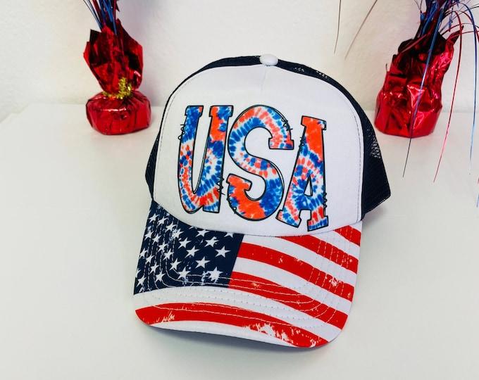 USA Trucker Hat, Foam Trucker Hat 4th of July Trucker Cap Sun Trucker Caps USA Flag hats Unisex Trucker Caps,
