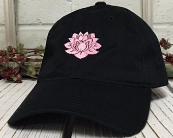 LOTUS FLOWER Baseball Hat Low Profile Embroidered Baseball Caps Dad Hats  Black 26ff444df8d6