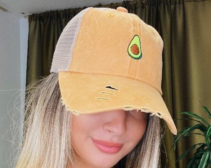 Avocado Trucker hat, Distressed Trucker Hat, Avocado Lover Gift, Trucker Cap, Fruit Trucker Caps, Ponytail dad hats, Guacamole Baseball cap