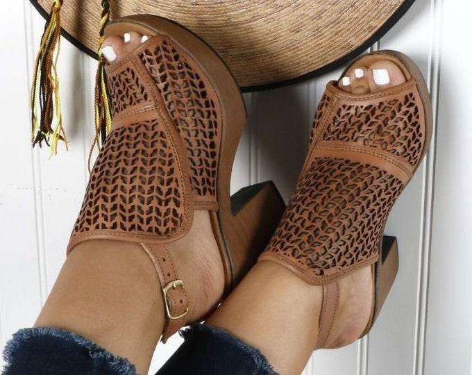 Huaraches Heels, High Heel Leather Womens Summer Block Heels, Platform Shoes Huarache, Authentic Handmade Artisanal Heels, Boho Style