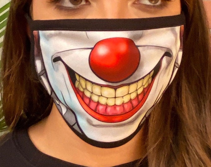 Clown Face Mask with filter opening Face covering, Red Nose Face mask, Washable Reusable Face mask cover Halloween Costume Face Mask