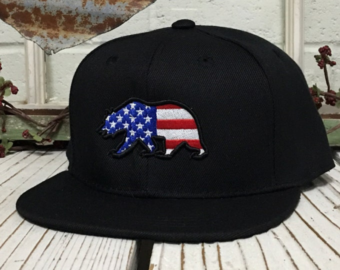 Kids Baseball Cap | US BEAR , FLATBILL , Independence Day , Fourth of July , Red White & Blue , American , Hats and Caps , Accessories