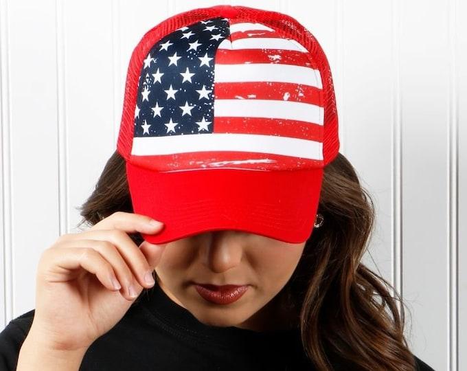 USA Flag Trucker Hat, USA Snapback Trucker Hat, Fourth of July Hats, Unisex Trucker Caps, Stars Trucker Cap, Custom Trucker Hat