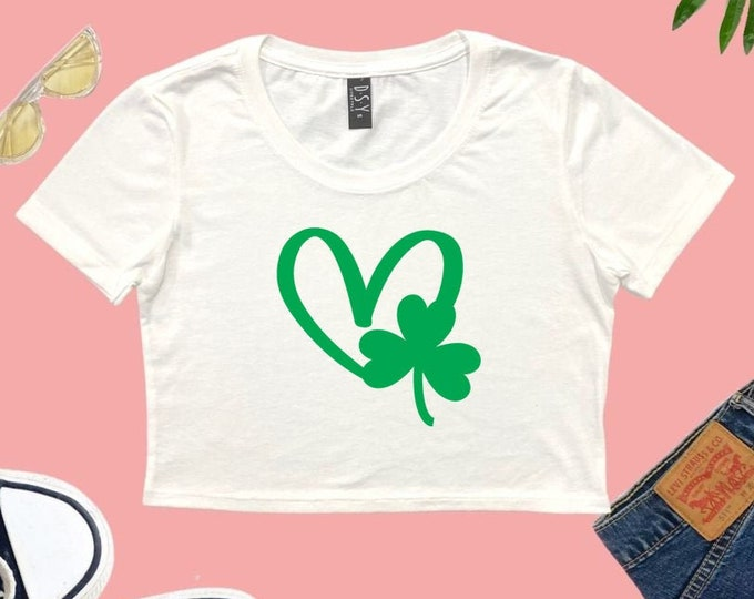 St Patrick's Day Cropped T-shirt, Lucky Summer Crop Top, Lounge Crop Top, gift for her, Three Leaf Clover Sexy Crop Top, Irish Women's Tops