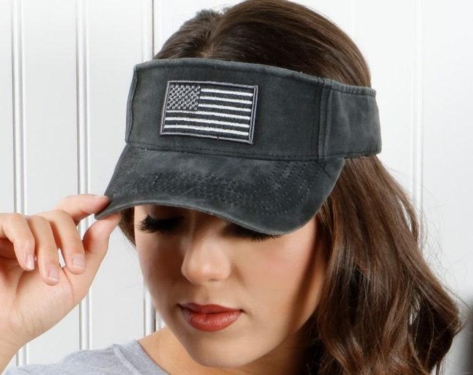USA Black Washed Visor, Labor Day Sun Visors, Unisex Flag Visor Hat, Red white and Blue, Memorial Day Visor Hat, 4th of July Visor, Sun Hat