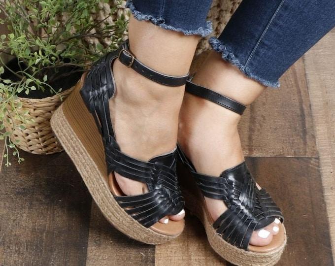 Mexican Wedges Huarache Heels, Womens Summer Huaraches, Mexican Artisan Huarache, Authentic Handmade Artisanal Heels, Summer Wedge Heels