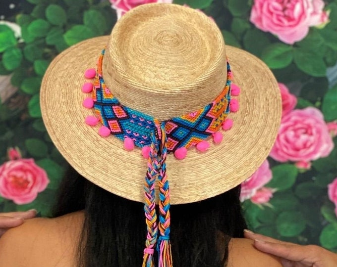 Pink Mexican Hand Braided Straw Hat, Handcrafted Mexican Hat, Gambler Hat with Pom Pom, Straw Palm Hat, Oaxacan Zapotec Hat Belt Traditional