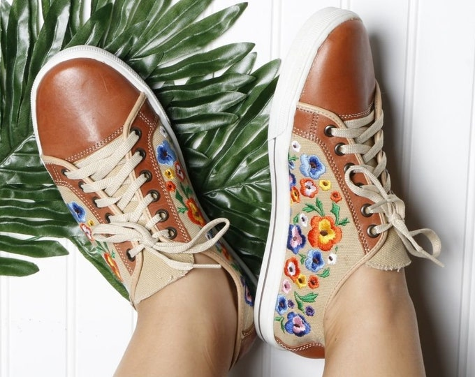 Floral Embroidered Sneakers, Women Floral Mexican Shoes, Embroidered Daisies Sneakers, Authentic Handmade Artisanal Shoes, Floral Sneakers