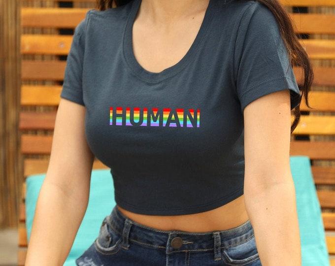 Pride Human Crop Top, Pride Tshirt, Festival Clothing, Gay Pride Top, Summer Outfits, LGBTQIA Crop Tops, Pride Cropped Top, Rainbow Crop Top
