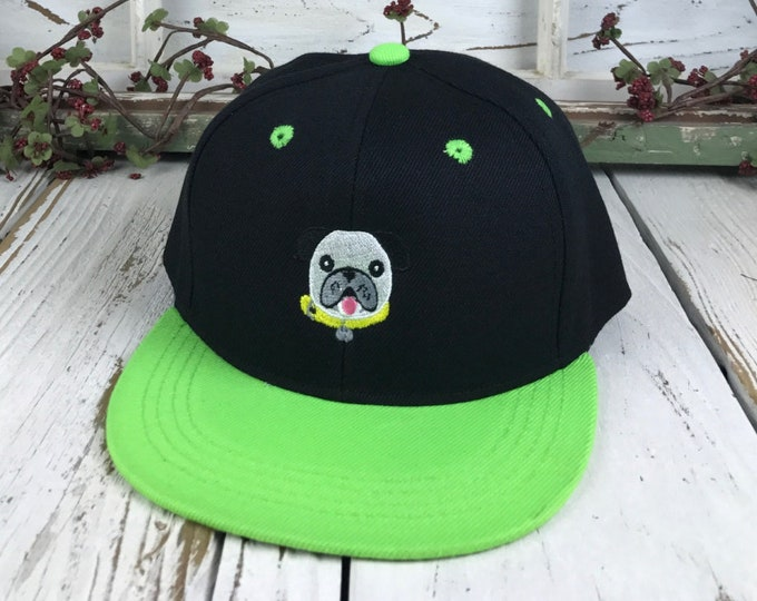 DOG Embroidered KIDS Flat Bill Snapback Child Bullog Lover  Hat Children's Cap 2 yrs to 8 yrs old - Kids Sun Hat, Toddler Hat, Many Colors