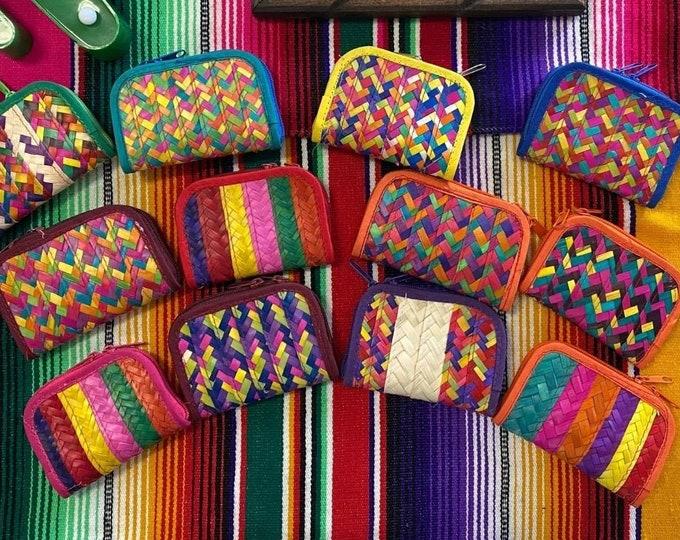 Mexican Handwoven Coin Purse, Palm Woven Coin Purse, Mexican Coin Pouch, Mexican Palm Coin Wallet, Mexican Palm Coin Purse, Coin Purse