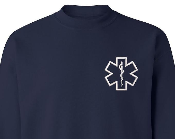 Paramedic Star Crewneck Sweatshirt, Gift for Her, Paramedic Pullover Sweater, Unisex Winter Sweatshirt, First Responder Gift, EMT Sweatshirt
