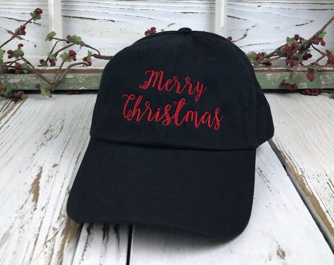 058ca1b2fdfd8 Merry Christmas Red Thread Hat Embroidered Baseball Cap Dad Hat Low Profile  Curved Bill Hats