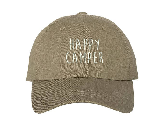 150e3573f7fe85 KIDS Hat, Happy Camper Embroidered Baseball kids Hat, Child Cap Hats, Kids  Camping