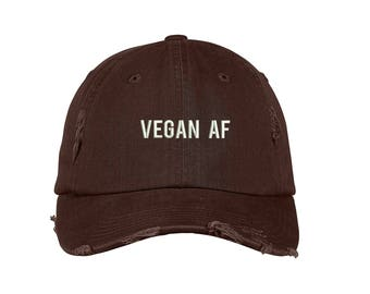 VEGAN AF Distressed Dad Hat 4dc2b423622d