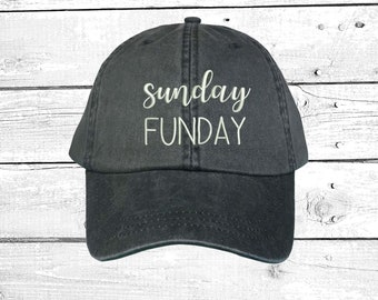 cf707bdd211c82 Sunday FUNDAY Washed Dad Hat, Embroidered Low Profile Drinking Hats, Dad  Hats Multiple Colors