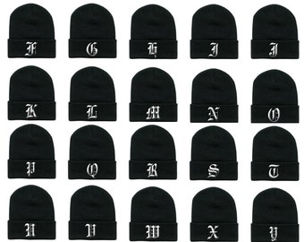 91ee679e8db OLD ENGLISH Alphabet ABC Letters Initials Embroidered Long Cuffed Beanies  Beanie Hat Cap Hip Hop