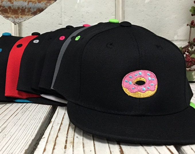 f2a21ad9361409 DONUT Embroidered KIDS Flat Bill Snapback Child Hat Children's Cap 2yrs to  8 yrs old -