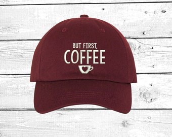 But First Coffee Baseball Hat Embroidered Baseball Cap for Coffee Lovers  Gift Ideas Coffee Shop Accessories Cap for Coffee Addict e4c058efc31e