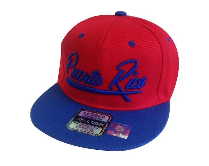 NEW Baseball Script Puerto Rico Flat Bill Snapback Hat Cap Hip-Hop Red/Royal Blue