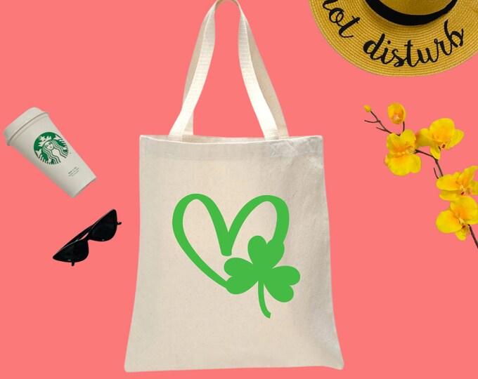 Shamrock Heart Canvas Tote Bag, Cotton Tote Bag, Print Tote Bag, Reusable Market Bag, St Patrick's Bag, Cute Tote, Eco-Friendly Shopping Bag