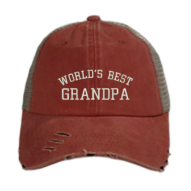 1189403dd52 World s BEST GRANDPA Trucker Hat Embroidered Distressed