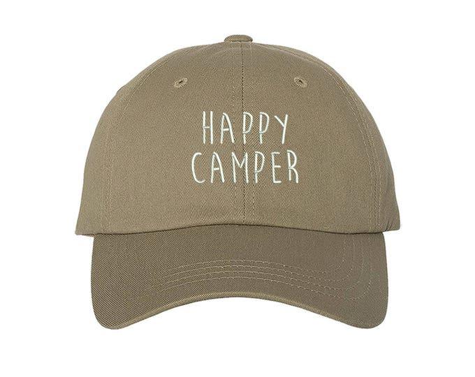 KIDS Hat, Happy Camper Embroidered Baseball kids Hat, Child Cap Hats,  Kids Camping Baseball Toddler Cap - Baseball Patch Hat