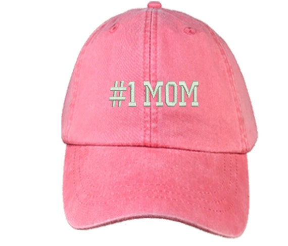 Mothers Day Gifts | MOM #1 , Washed , Baseball Cap , Dad Hats , Baseball Hat , Embroidered , Gifts For Mom , Presents For Mom , Womens Hats