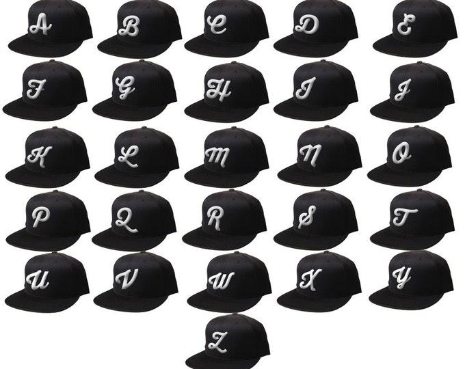 Snapback 3D Your Initials Here,  Flat Bill Snapback, Personalized Hat, Custom Black Cap CURSIVE Customized Hat  Alphabet A-Z