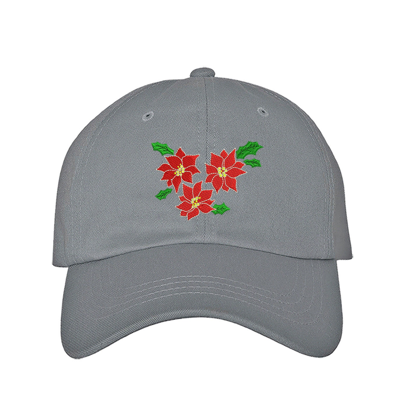 Custom Soft Baseball Cap Christmas Poinsettia Embroidery Twill Cotton