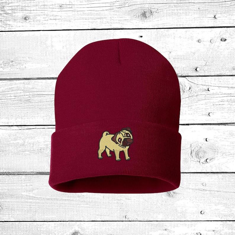 d968d665487 PUG Beanie Hat Embroidered Beanie Cuffed Cap Dog Mom Dog Dad