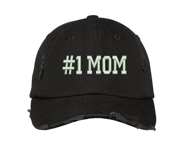77dcd777916 Gifts For Mom 1 MOM DISTRESSED Dad Hat Embroidered