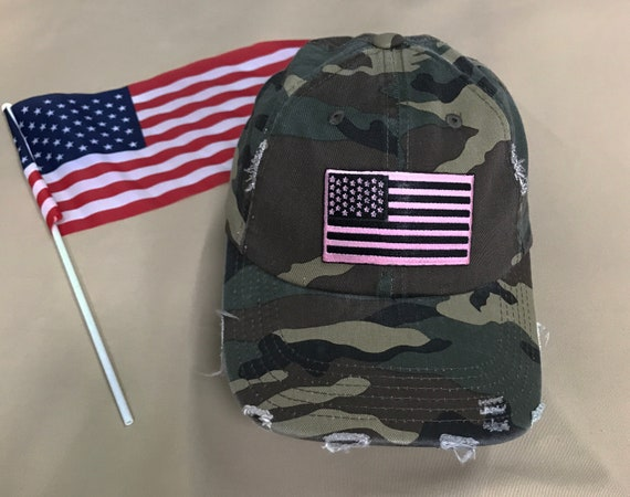 0d698196346 USA FLAG Distressed Dad Hat Embroidered Pink Flag Hat USA