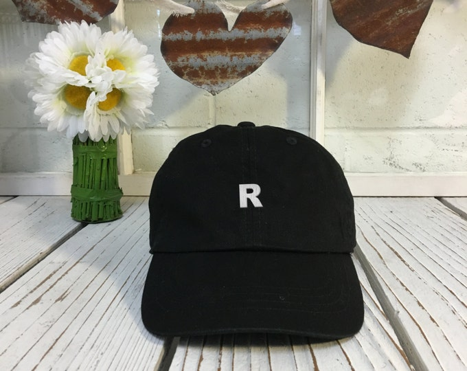 """Dad Hat Letter """"R"""" Alphabet Initial Embroidered ABC's Black Polo Baseball Cap Low Profile Curved Bill"""