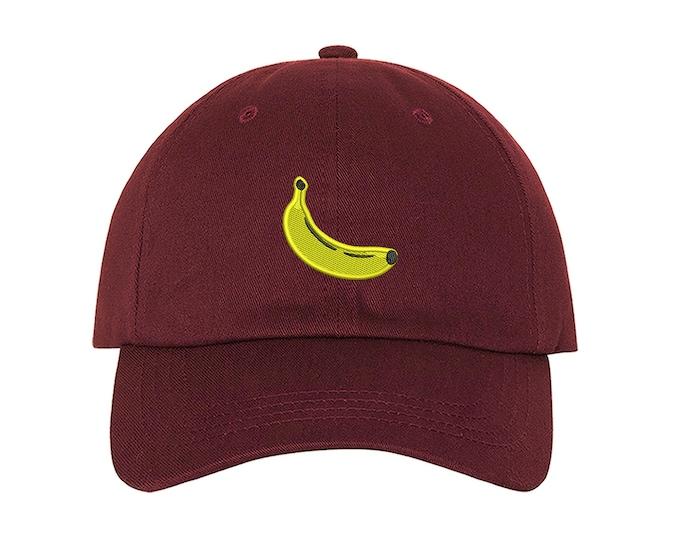 Banana Baseball Hat, Banana Emoji Baseball Cap, Fruit baseball hats, Yellow Funny Hat, Banana Dad Hat, Artsy Unisex Hat