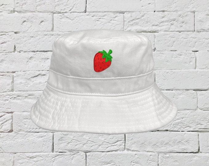 Strawberry Bucket Hat, Strawberry Sun Hat, Fisherman Bucket Hat, Embroidered Hat, Unisex Introvert Bucket Hat, Summer Bucket Cap, Unisex Hat