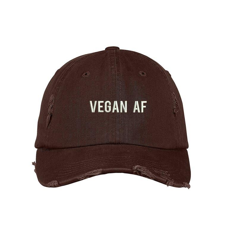VEGAN AF Distressed Dad Hat Embroidered Veganism No Animal No  6e26e007a096