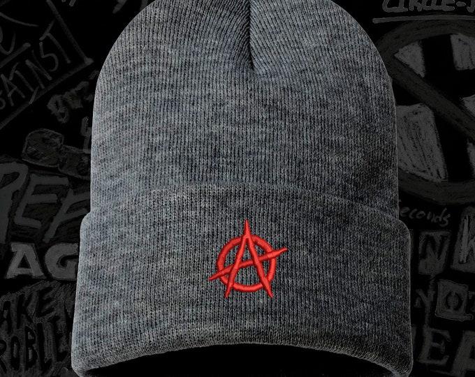 ANARCHY Beanie Hat, Winter Hat, Against Authority Cap, Embroidered Beanie Cuffed Cap, ACAB Beanie, Gift for punks, chaos Beanie