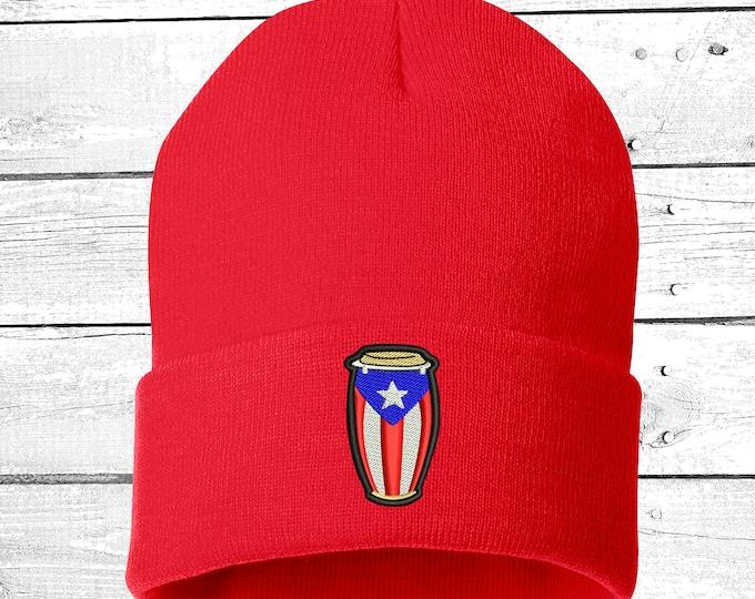 Puerto Rican Flag Conga Dream Cuffed Beanie, Puertorican Festival Hats, Embroidered Beanie Rico Dad Hats, Boricua Hats