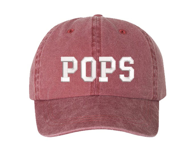 Pops Washed Baseball Dad Hat, Dad Hat, Embroidered Dad Hat, Grandpa Dad Hat, Gift for Grandfathers, New Grandpa reveal Hat, Fathers Day Gift