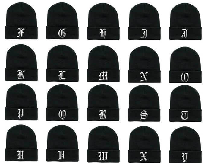 OLD ENGLISH Alphabet ABC Letters Initials Embroidered Long Cuffed Beanies Beanie Hat Cap Hip Hop