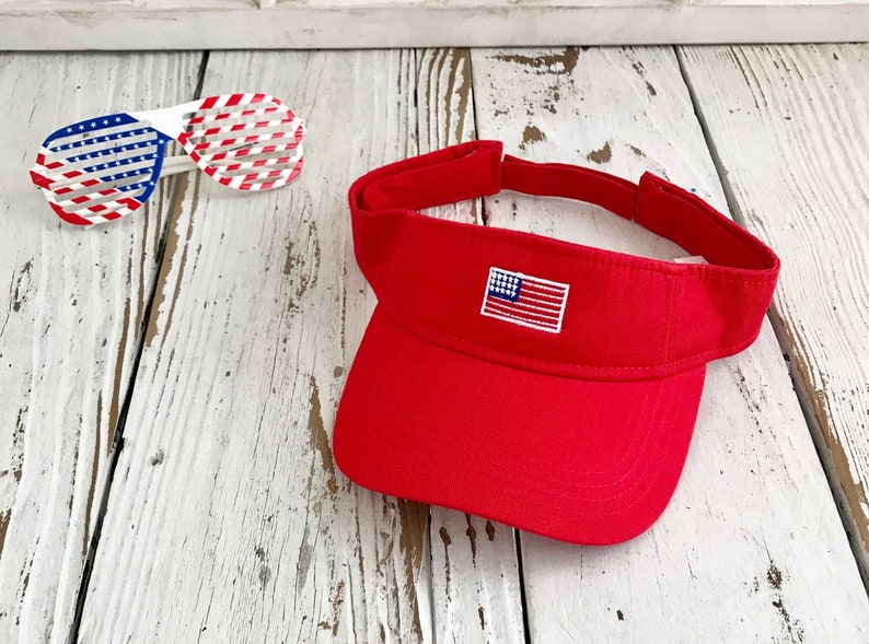 65645f1e588 USA Flag Visor Sun Visors Flag Visor Hat Red white and