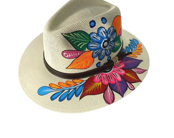 Hand painted Stone Floral Artisanal Hat, Handcrafted Mexican Hat, Floral Sunflower Hat, Beach Palm Hat, Colorful Floral Hat Traditional