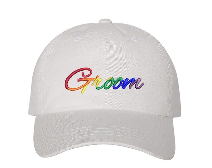 Pride Groom Hat, Gay Pride Dad Hat, LGBT Hat, Groom Bride Baseball Cap, Pride Flag Hat, Lgbtq+ Baseball Hat Pride Baseball Hat bride to be
